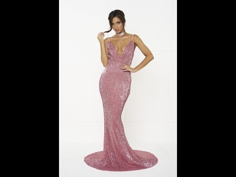 Honey Couture ROSALIE Pink Sequin Formal Gown Dress