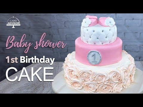 1st Birthday Cake, Baby Shower Cake For Girls Tutorial+recipe By Cake Advisor