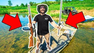 CAST and BLAST Bullfrog Hunting CHALLENGE in My BACKYARD Pond!!! (CATCH CLEAN COOK)