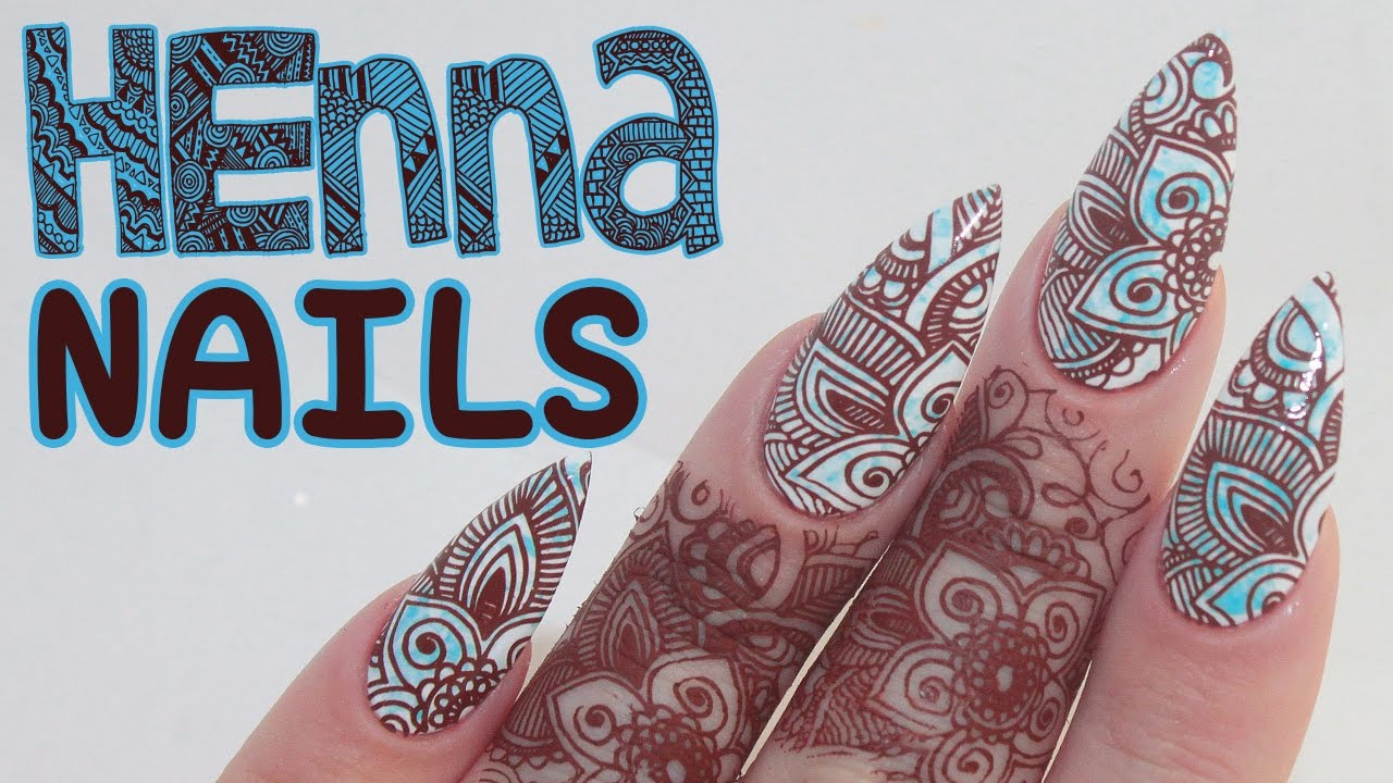 How To Henna Acrylic Nails Tutorial Youtube