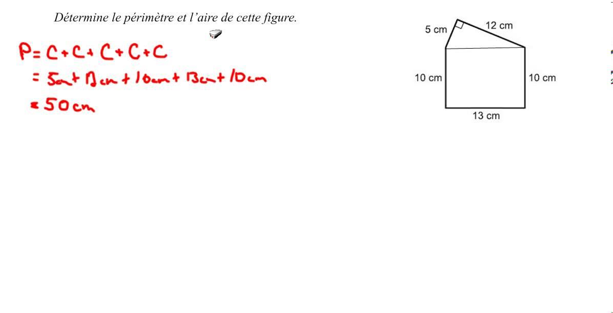 mpm 1d calcul du primtre et laire dune forme irrgulire - Comment Calculer La Surface D Une Maison