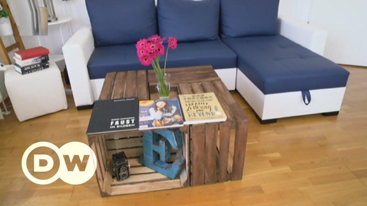 ein couchtisch aus obstkisten dw deutsch youtube. Black Bedroom Furniture Sets. Home Design Ideas