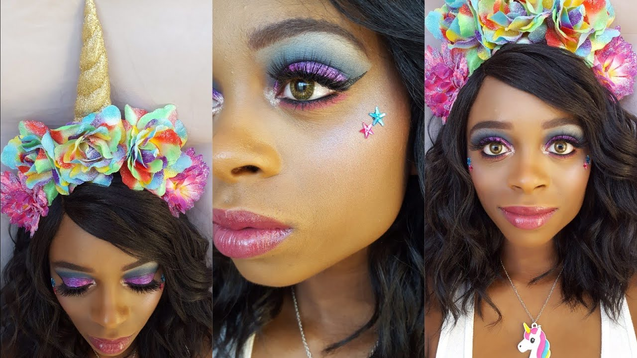 RAINBOW UNICORN HALLOWEEN MAKEUP TUTORIAL DIY RAINBOW NAILS DIY GLITTER UNICORN  FLOWER CROWN a71d2046705