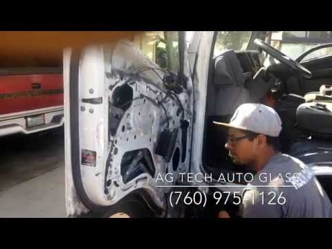 Installing a door glass on a Isuzu NPR