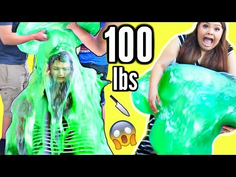 CUTTING OPEN 100 LB SLIME STRESS BALL! Slime Bucket Challenge!