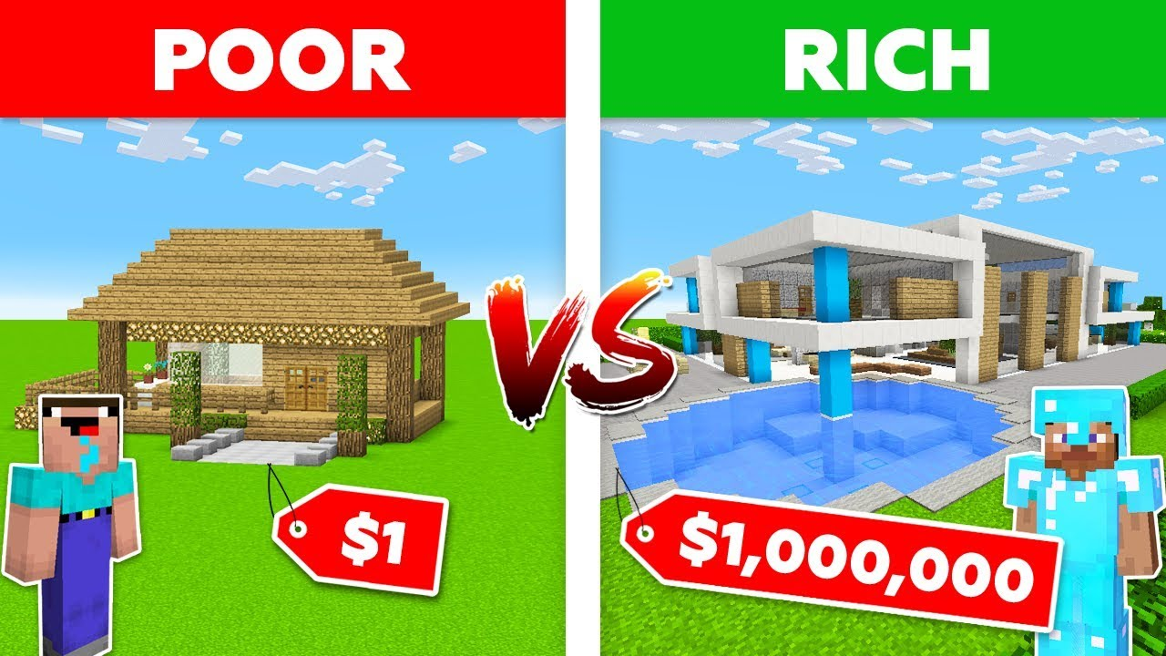 Minecraft NOOB vs. PRO : $1 HOUSE vs $1,000,000 HOUSE in Minecraft / 100% trolling thumbnail