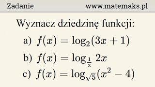 Dziedzina funkcji logarytmicznej - przykłady 1