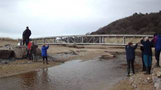 Swansea Ramblers build coast path bridge at Nicholaston on The Gower Peninsula