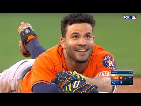 Altuve nearly triples but trips on his helmet