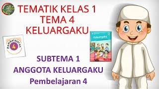 Kelas 1 Tematik : Tema 4 Subtema 1 Pembelajaran 4 (KELUARGAKU)