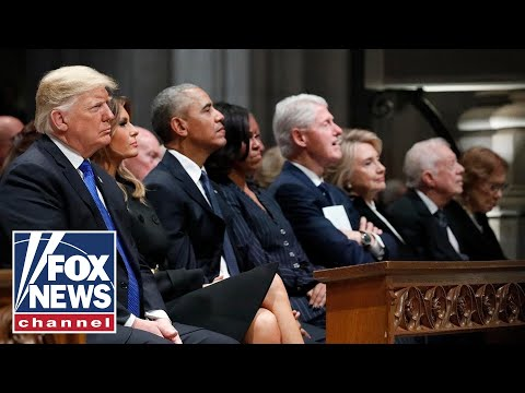 Tension between Trumps, Clintons on display at Bush funeral
