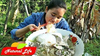 Pretty Girl Eating Noodle Soup Delicious Natural Life