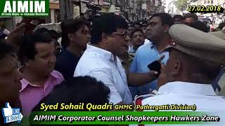 AIMIM Corporators Counseled Shopkeepers for Co-operation for temporary Hawkers Place.