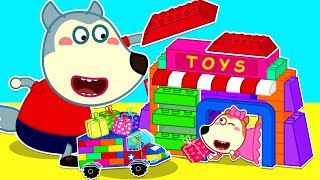 Baby Wolf Makes Lego Car to Pretend Play Selling with Lego Toy Store  Wolfoo Channel