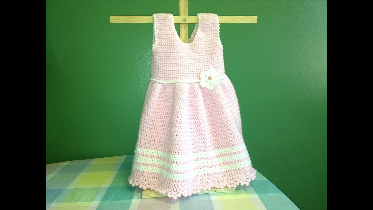 How To Crochet Baby Dress Pattern : How To Crochet a Baby Dress Easy Easter Baby Shower - YouTube