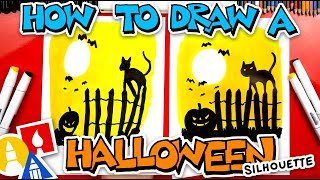 How To Draw A Spooky Halloween Night - Silhouette