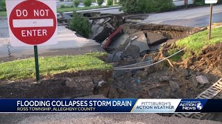 Flooding creates giant sinkhole off McKnight Road in Ross Township