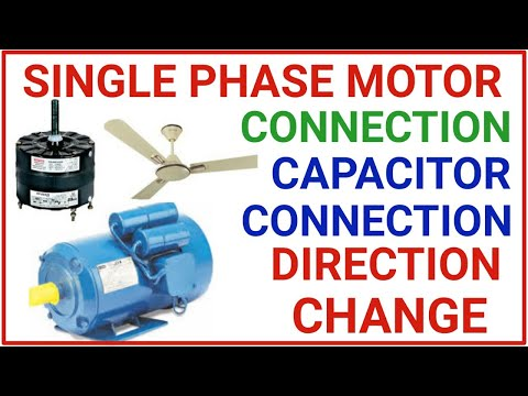 Single phase motor connection!capacitor connection & direction change  connection - YouTubeYouTube