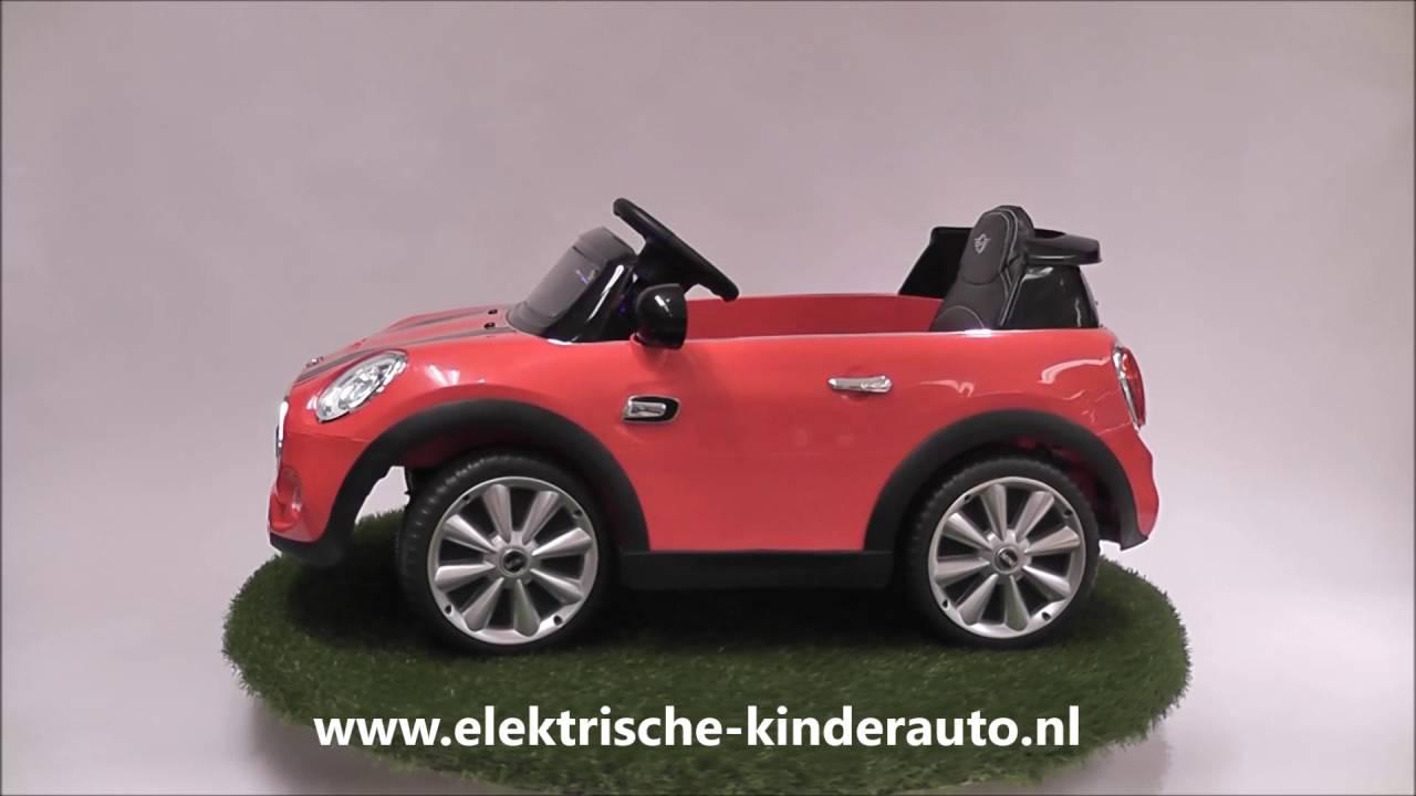 Elektrische Kinderauto Mini Cooper rood - YouTube