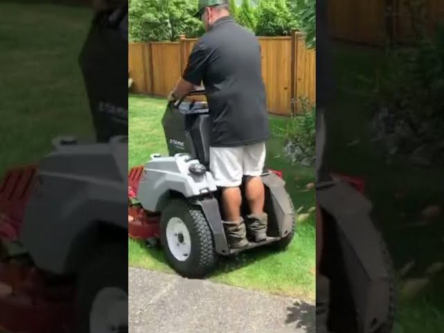 """Tight backyard access is no problem for the Exmark Staris 32"""" stand on mower. #shorts"""