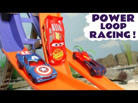 Cars Lightning McQueen Hot Wheels Power Loop Racing with Superheroes and funny Funlings TT4U