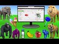 Learn wild Animals Online Shopping For Kids Buying Groceries | Kids Pretend Play Toys Learn Colors