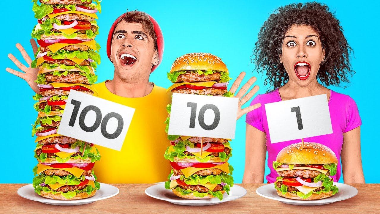 TANTANGAN 100 LAPIS MAKANAN || 24 Jam Tantangan Makanan Raksasa vs Mungil Oleh 123 GO! CHALLENGE