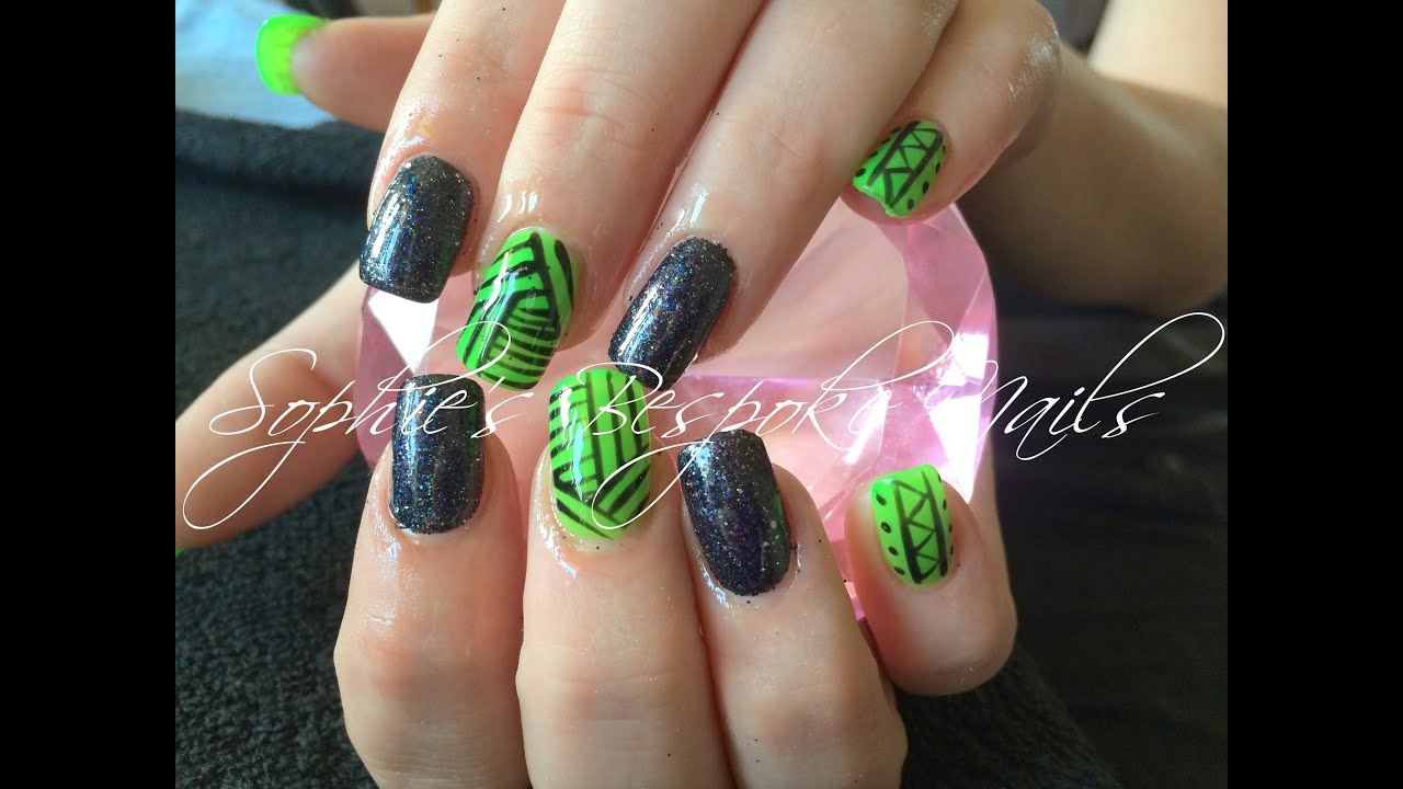 Acrylic Nails l Green & Black Glitter l Nail Desi - YouTube