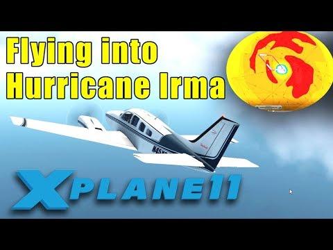 X-Plane 11: Flying into the eye of Hurricane Irma (Real-World Weather)