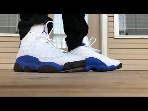 Jordan 13 Hyper Royal On Foot Look Youtube