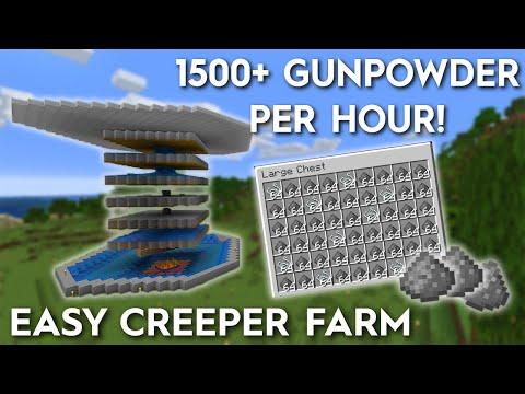 Minecraft Creeper Farm - Easy 1500+ Gunpowder Per Hour 1.16/1.15