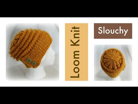 LOOM KNITTING Hat Slouchy Beanie with Flap-Over Brim | Loomahat