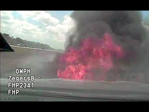 The Bus Driver - Cop's Cruiser Catches Fire During High Speed Chase