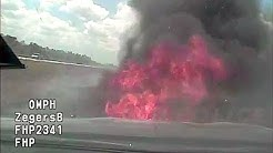 Florida Highway Patrol Pursuit Reaches 142 MPH, Cruiser Catches Fire