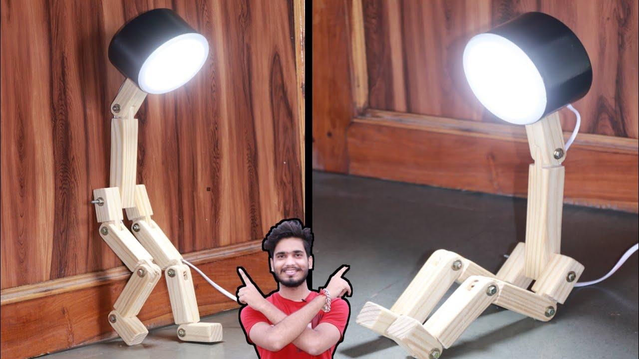 Make a Unique robotic lamp ||  wood table lamp कैसे बनाये || Mr. Dharoniya ||