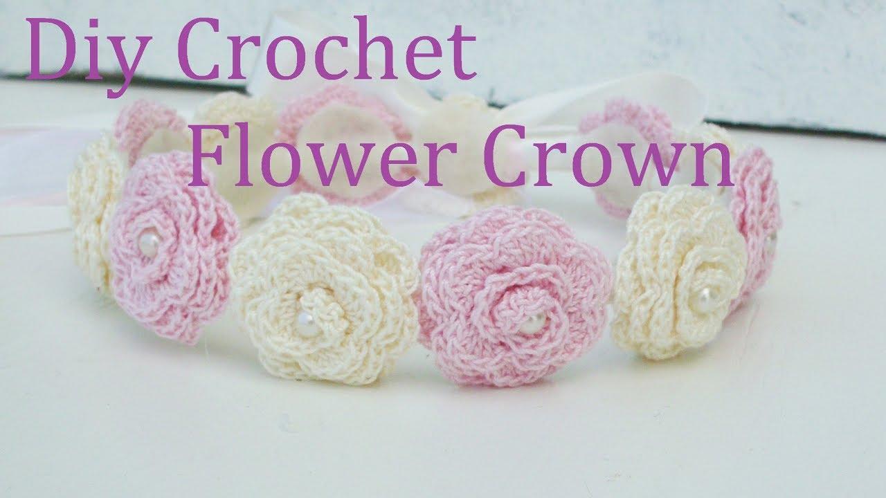 Diy Crochet Flower Crown Tutorial   Flower Girl   Weddings - YouTube 02345791407