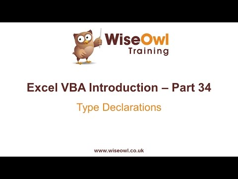 Excel VBA Introduction Part 34 - Type Declarations (User-Defined Types)