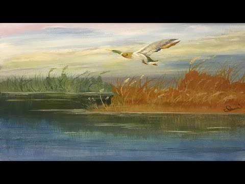 Simple Step by Step Acrylic Painting Reeds & Water with Duck