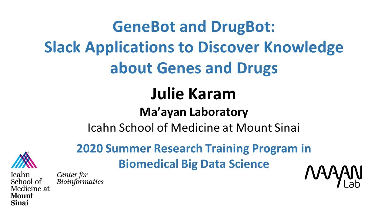 GeneBot and DrugBot: Slack Applications to Discover Knowledge about Genes and Drugs