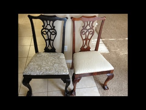 Spray painted dining room chairs-before and after
