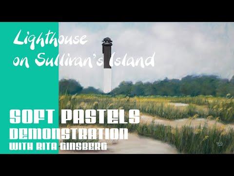 Landscape Beach Painting of Lighthouse on Sullivan's Island SC – Beginner Soft Pastel Demonstration