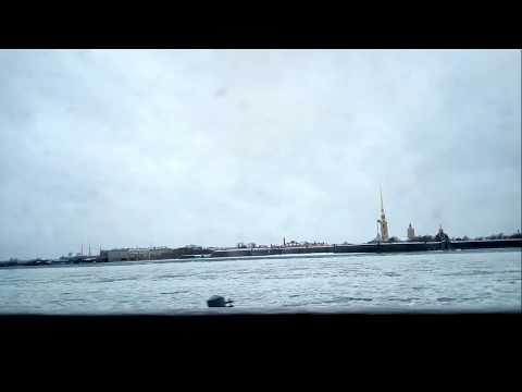 Across the frozen Neva River front opposite Hermitage Museum at Saint Petersburg(Russia)