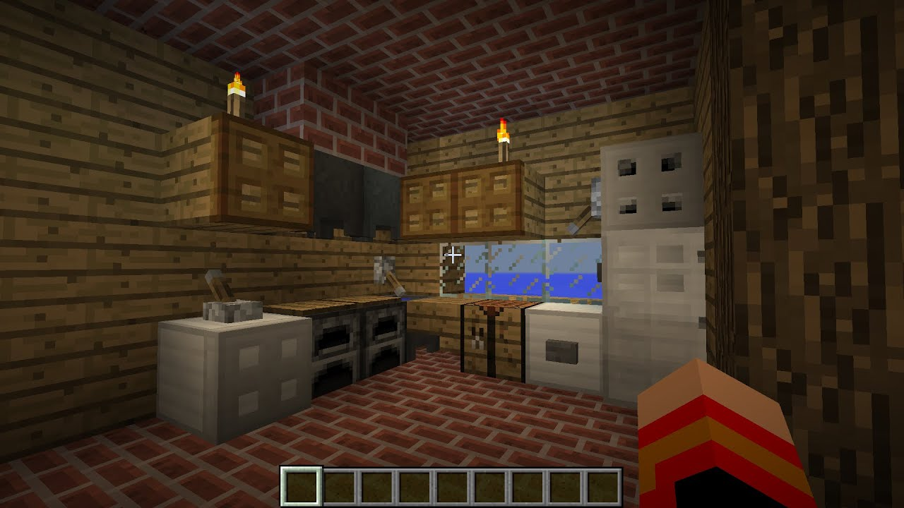 Tuto minecraft d co maison cuisine youtube for Decoration maison minecraft