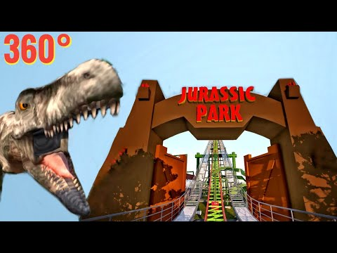 360° VR JURASSIC PARK Movie themed Roller Coaster POV Dinosaur 360 도 롤러코스터 탐험 ジェットコースター