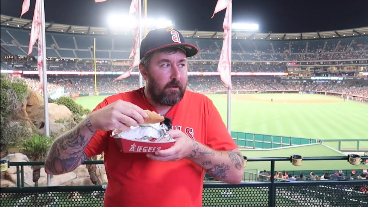 Very Unusual Night at Angels Stadium -  Guy Climbs INTO The Fireworks Area / Nacho Helmet & Hot Dogs
