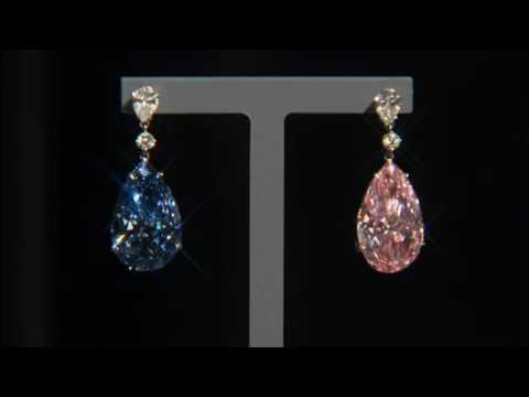 Diamond earrings on display in London ahead of Geneva sale