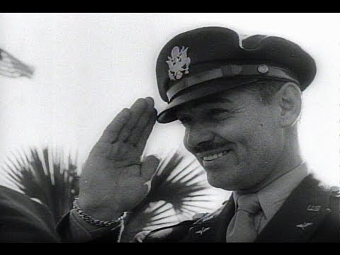 HD Historic Archival Stock Footage WWII - Clark Gable Wins Air Gunner Wings 1943