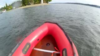 first run in  inflatable boat 20hp tohatsu