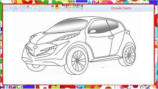 How to draw a car Hyundai Santro - Learn By Art