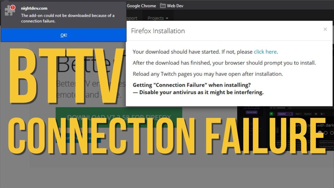 BTTV Connection Failure in Firefox